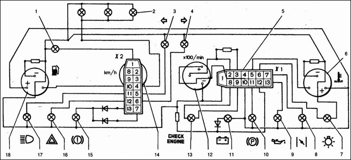 Схема панели приборов ваз2107.